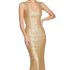 Dress the Population Gold Sequin Gown